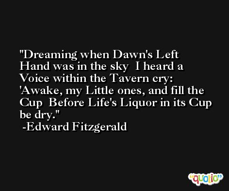 Dreaming when Dawn's Left Hand was in the sky  I heard a Voice within the Tavern cry:  'Awake, my Little ones, and fill the Cup  Before Life's Liquor in its Cup be dry. -Edward Fitzgerald