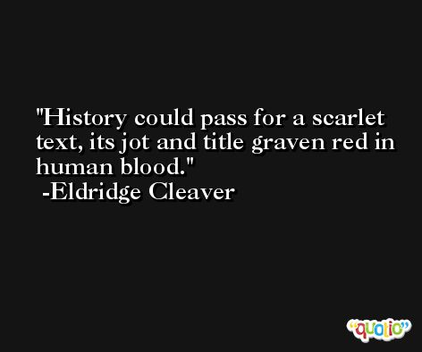 History could pass for a scarlet text, its jot and title graven red in human blood. -Eldridge Cleaver