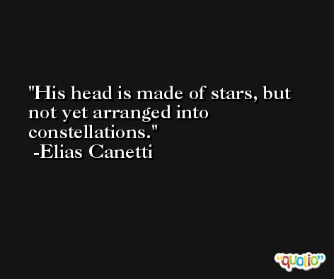 His head is made of stars, but not yet arranged into constellations. -Elias Canetti