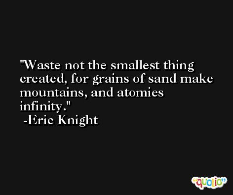 Waste not the smallest thing created, for grains of sand make mountains, and atomies infinity. -Eric Knight