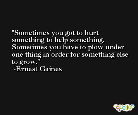 Sometimes you got to hurt something to help something. Sometimes you have to plow under one thing in order for something else to grow. -Ernest Gaines