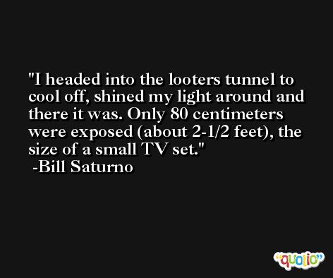 I headed into the looters tunnel to cool off, shined my light around and there it was. Only 80 centimeters were exposed (about 2-1/2 feet), the size of a small TV set. -Bill Saturno