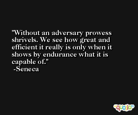 Without an adversary prowess shrivels. We see how great and efficient it really is only when it shows by endurance what it is capable of. -Seneca