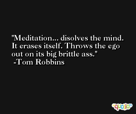 Meditation... disolves the mind. It erases itself. Throws the ego out on its big brittle ass. -Tom Robbins