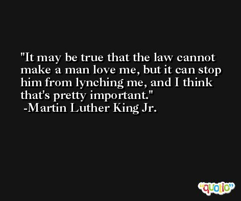It may be true that the law cannot make a man love me, but it can stop him from lynching me, and I think that's pretty important. -Martin Luther King Jr.