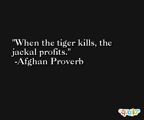When the tiger kills, the jackal profits. -Afghan Proverb