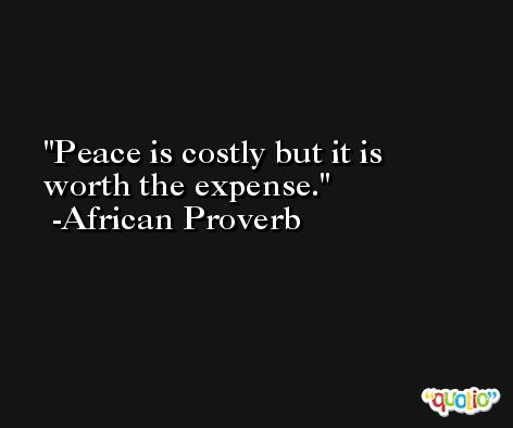 Peace is costly but it is worth the expense. -African Proverb