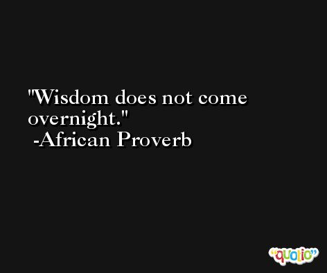 Wisdom does not come overnight. -African Proverb