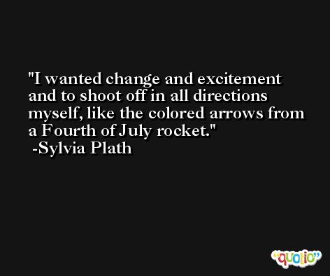 I wanted change and excitement and to shoot off in all directions myself, like the colored arrows from a Fourth of July rocket. -Sylvia Plath