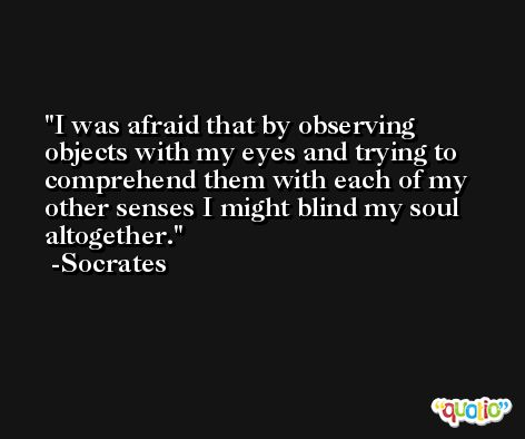 I was afraid that by observing objects with my eyes and trying to comprehend them with each of my other senses I might blind my soul altogether. -Socrates