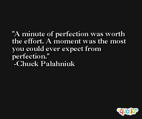 A minute of perfection was worth the effort. A moment was the most you could ever expect from perfection. -Chuck Palahniuk