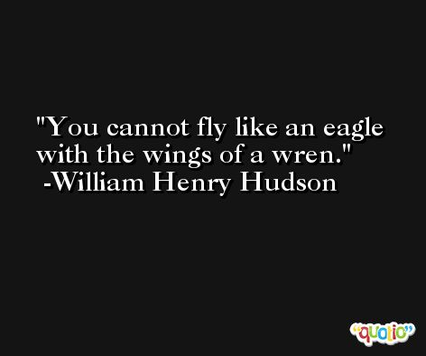 You cannot fly like an eagle with the wings of a wren. -William Henry Hudson