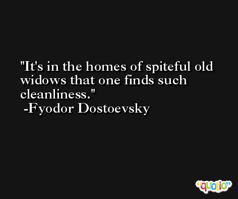It's in the homes of spiteful old widows that one finds such cleanliness. -Fyodor Dostoevsky