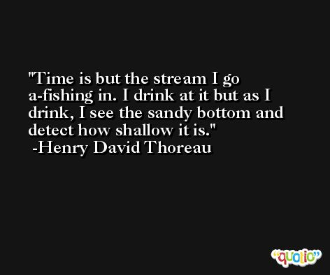 Time is but the stream I go a-fishing in. I drink at it but as I drink, I see the sandy bottom and detect how shallow it is. -Henry David Thoreau