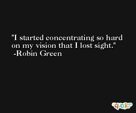 I started concentrating so hard on my vision that I lost sight. -Robin Green