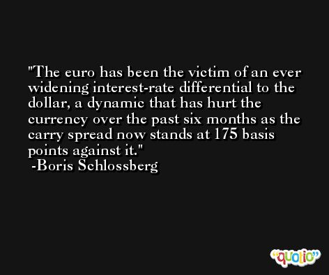 The euro has been the victim of an ever widening interest-rate differential to the dollar, a dynamic that has hurt the currency over the past six months as the carry spread now stands at 175 basis points against it. -Boris Schlossberg