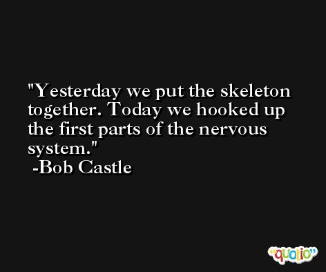 Yesterday we put the skeleton together. Today we hooked up the first parts of the nervous system. -Bob Castle