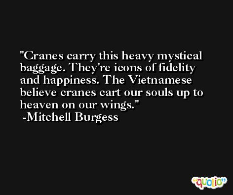 Cranes carry this heavy mystical baggage. They're icons of fidelity and happiness. The Vietnamese believe cranes cart our souls up to heaven on our wings. -Mitchell Burgess