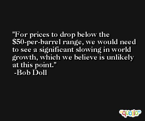 For prices to drop below the $50-per-barrel range, we would need to see a significant slowing in world growth, which we believe is unlikely at this point. -Bob Doll