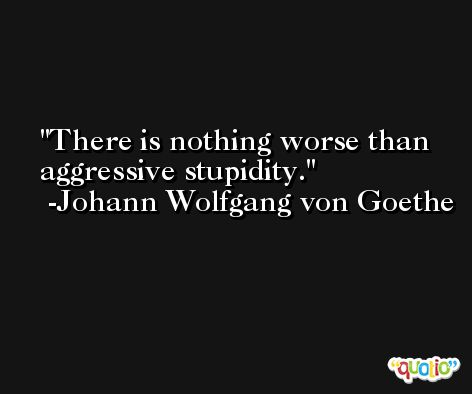 There is nothing worse than aggressive stupidity. -Johann Wolfgang von Goethe