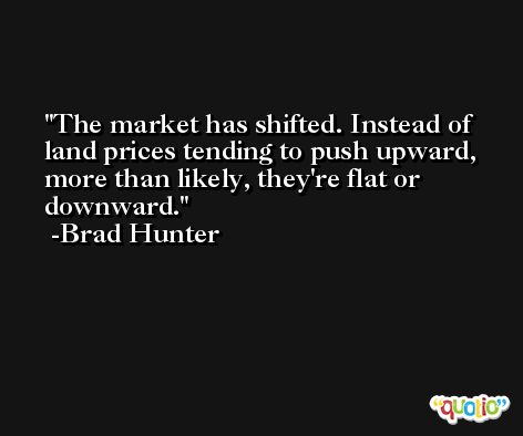 The market has shifted. Instead of land prices tending to push upward, more than likely, they're flat or downward. -Brad Hunter