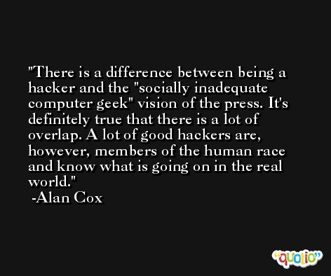 There is a difference between being a hacker and the 'socially inadequate computer geek' vision of the press. It's definitely true that there is a lot of overlap. A lot of good hackers are, however, members of the human race and know what is going on in the real world. -Alan Cox