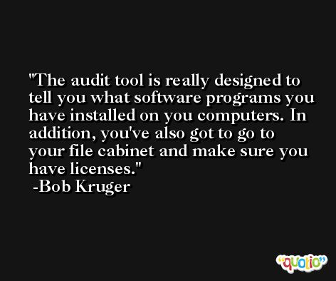 The audit tool is really designed to tell you what software programs you have installed on you computers. In addition, you've also got to go to your file cabinet and make sure you have licenses. -Bob Kruger