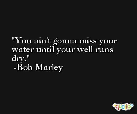 You ain't gonna miss your water until your well runs dry. -Bob Marley