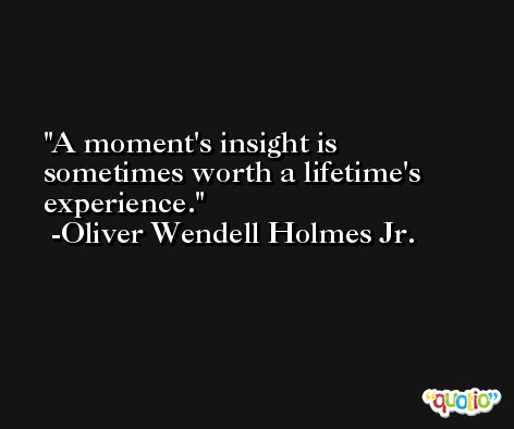 A moment's insight is sometimes worth a lifetime's experience. -Oliver Wendell Holmes Jr.