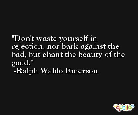 Don't waste yourself in rejection, nor bark against the bad, but chant the beauty of the good.  -Ralph Waldo Emerson