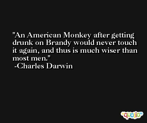 An American Monkey after getting drunk on Brandy would never touch it again, and thus is much wiser than most men. -Charles Darwin