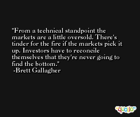 From a technical standpoint the markets are a little oversold. There's tinder for the fire if the markets pick it up. Investors have to reconcile themselves that they're never going to find the bottom. -Brett Gallagher