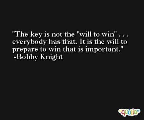 The key is not the 'will to win' . . . everybody has that. It is the will to prepare to win that is important. -Bobby Knight