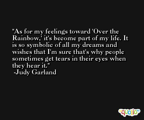 As for my feelings toward 'Over the Rainbow,' it's become part of my life. It is so symbolic of all my dreams and wishes that I'm sure that's why people sometimes get tears in their eyes when they hear it. -Judy Garland