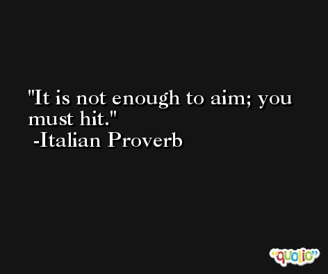 It is not enough to aim; you must hit. -Italian Proverb
