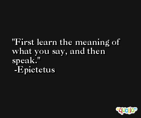 First learn the meaning of what you say, and then speak.  -Epictetus
