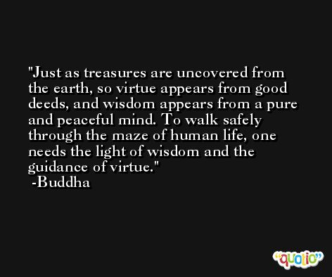 Just as treasures are uncovered from the earth, so virtue appears from good deeds, and wisdom appears from a pure and peaceful mind. To walk safely through the maze of human life, one needs the light of wisdom and the guidance of virtue. -Buddha
