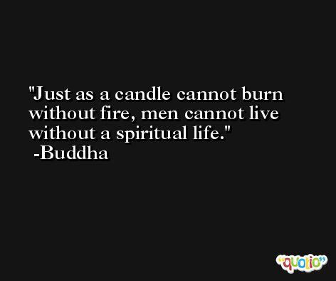 Just as a candle cannot burn without fire, men cannot live without a spiritual life. -Buddha
