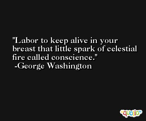 Labor to keep alive in your breast that little spark of celestial fire called conscience. -George Washington