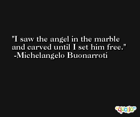I saw the angel in the marble and carved until I set him free.  -Michelangelo Buonarroti