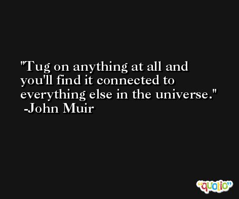 Tug on anything at all and you'll find it connected to everything else in the universe. -John Muir