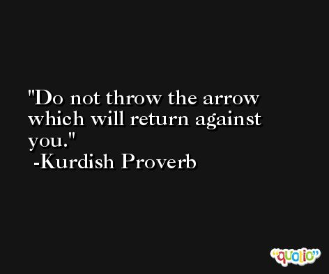 Do not throw the arrow which will return against you. -Kurdish Proverb