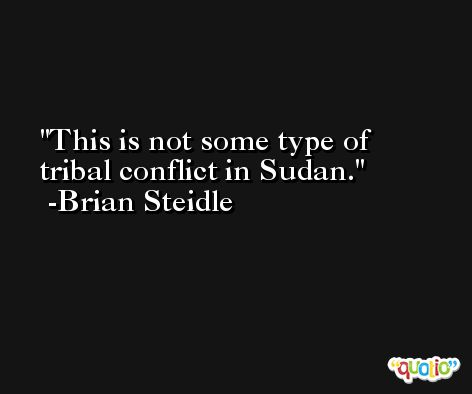 This is not some type of tribal conflict in Sudan. -Brian Steidle