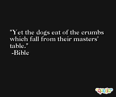 Yet the dogs eat of the crumbs which fall from their masters' table. -Bible