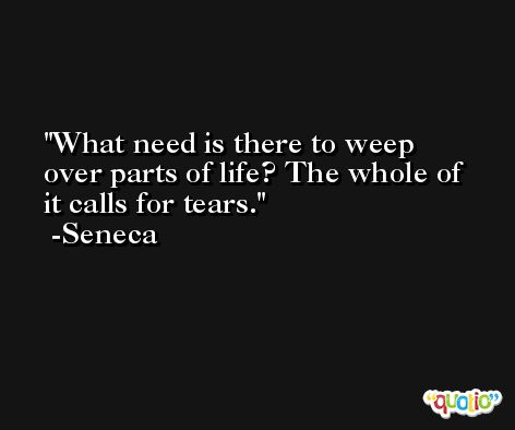 What need is there to weep over parts of life? The whole of it calls for tears. -Seneca