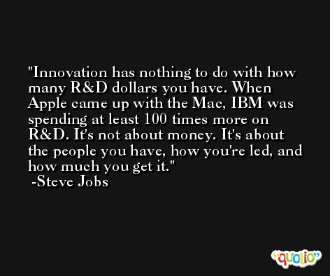 Innovation has nothing to do with how many R&D dollars you have. When Apple came up with the Mac, IBM was spending at least 100 times more on R&D. It's not about money. It's about the people you have, how you're led, and how much you get it. -Steve Jobs