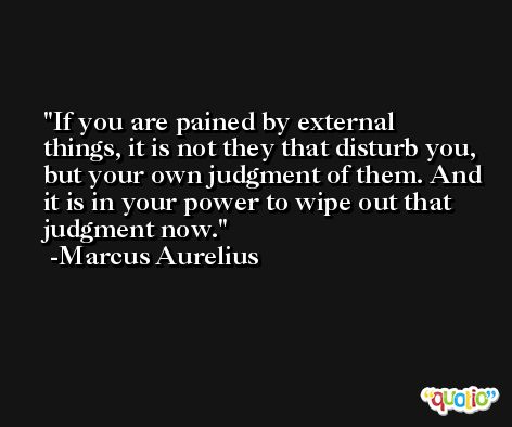 If you are pained by external things, it is not they that disturb you, but your own judgment of them. And it is in your power to wipe out that judgment now. -Marcus Aurelius Antoninus