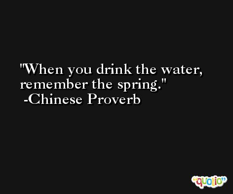 When you drink the water, remember the spring. -Chinese Proverb