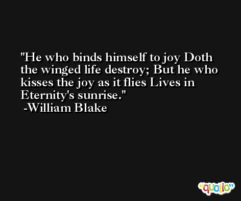 He who binds himself to joy Doth the winged life destroy; But he who kisses the joy as it flies Lives in Eternity's sunrise. -William Blake