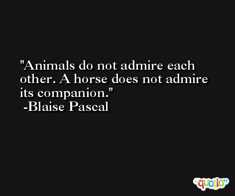 Animals do not admire each other. A horse does not admire its companion. -Blaise Pascal